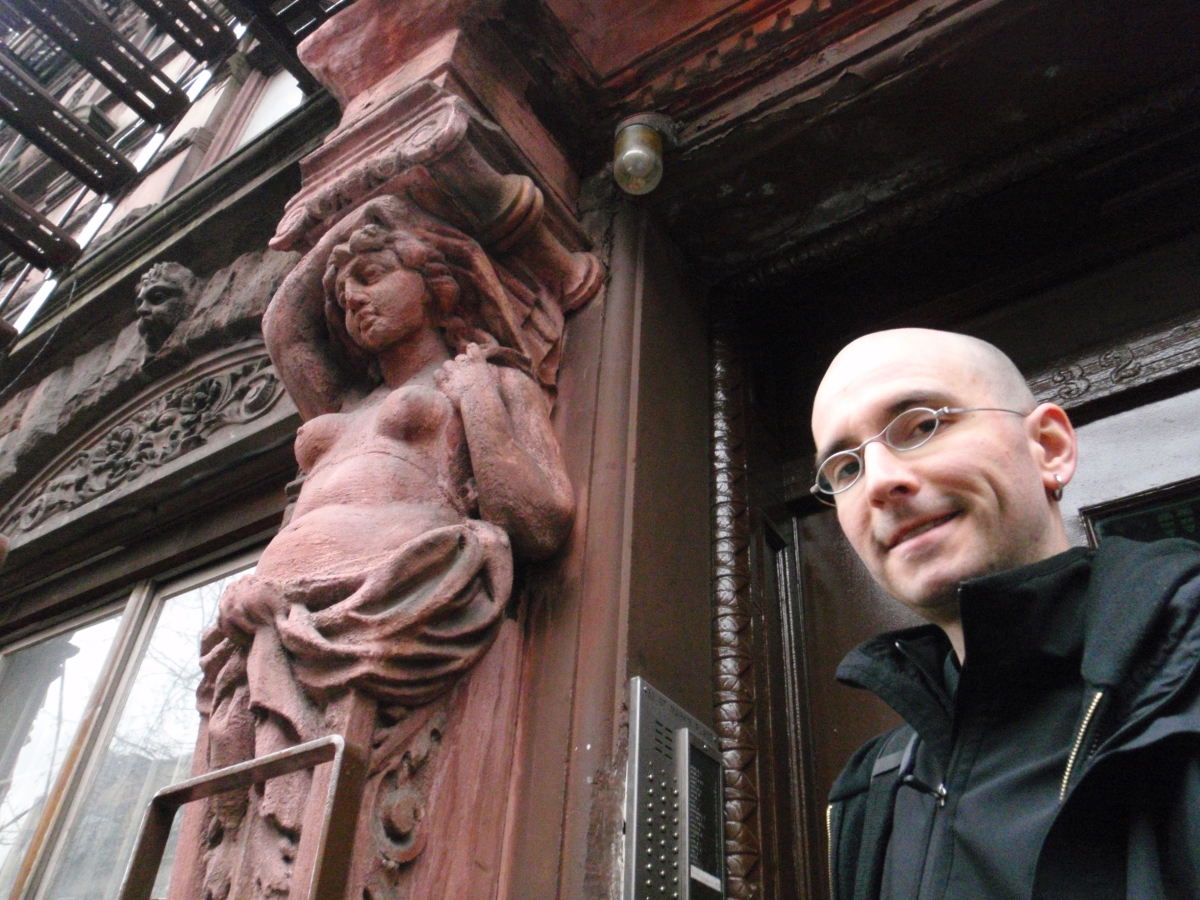 Qu Mark Benecke In Front Of His Appartment East Village New York